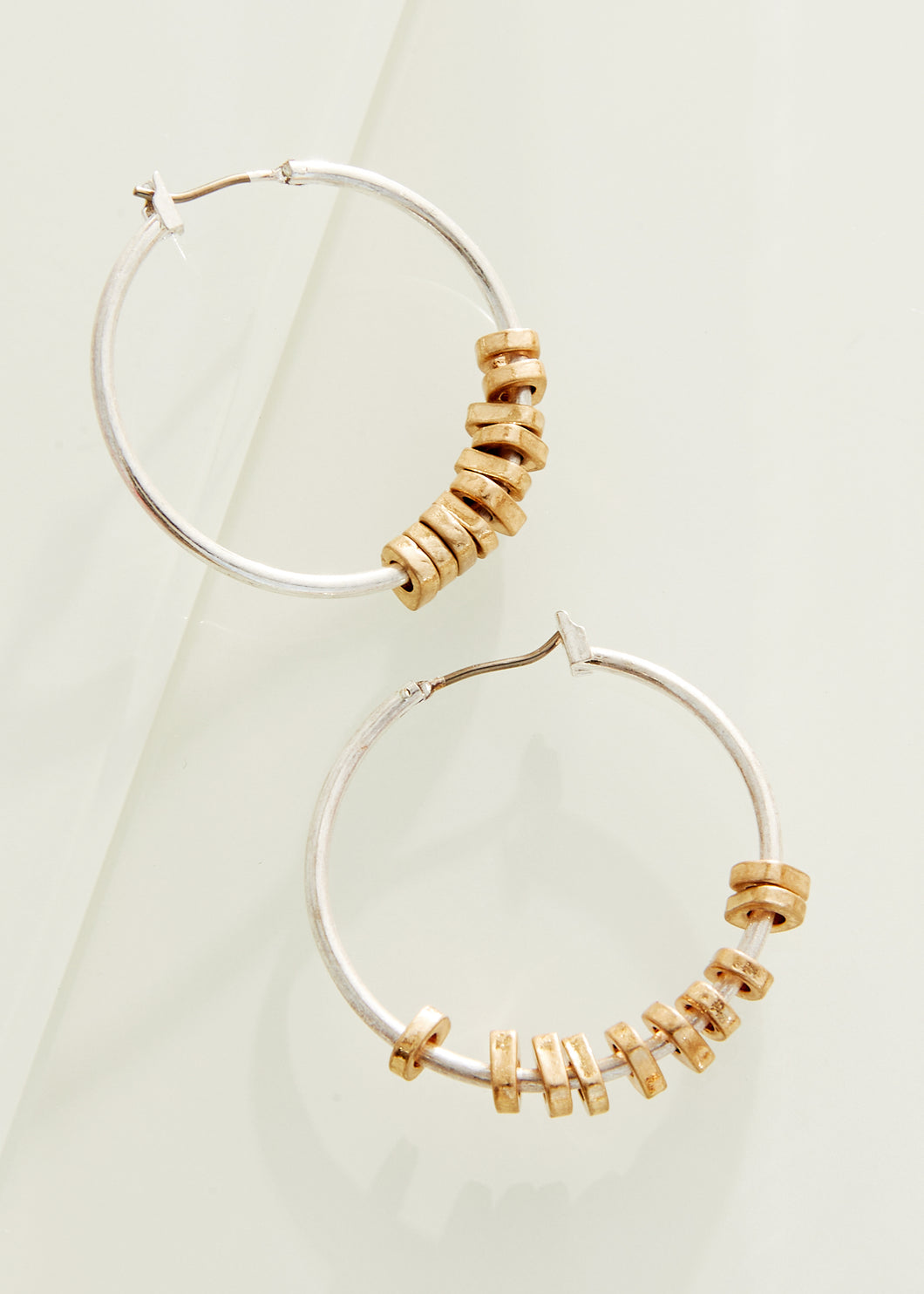 Silver Hoops With Gold Accents