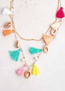 Happy As A Clam Tassel Necklace  - FINAL SALE