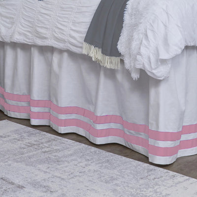 Bed Skirt Panel- White with Light Pink Double Ribbon