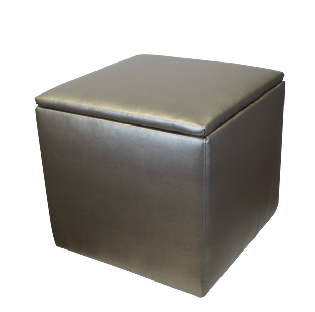Storage Ottoman - Metallic Faux Leather