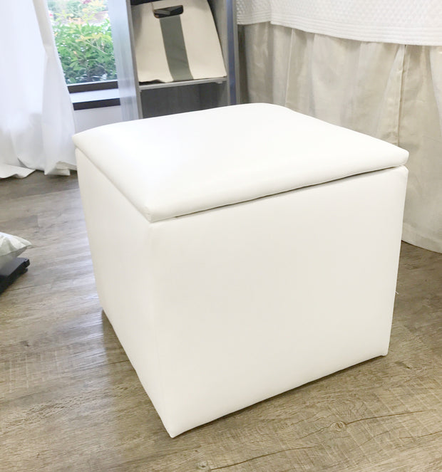 Storage Ottoman - White Faux Leather