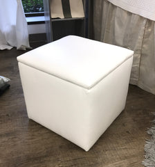 storage ottoman, white faux leather, soft to touch, solid construction, holds up to 220 lbs.