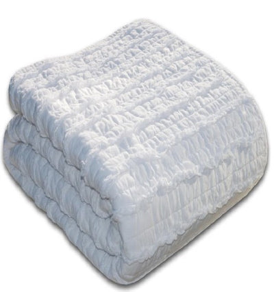 Blake Ruffled Quilt Set - White (Full/Queen)