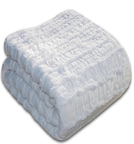 Blake Ruffled Quilt Set - White