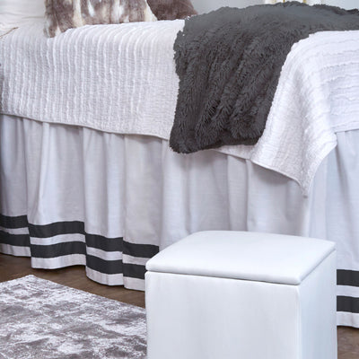 Bed Skirt Panel- White with Double Black Ribbon