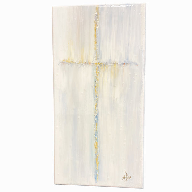 "Bless This Dorm Room Cross - Blue, Gold 4"" x 12"""