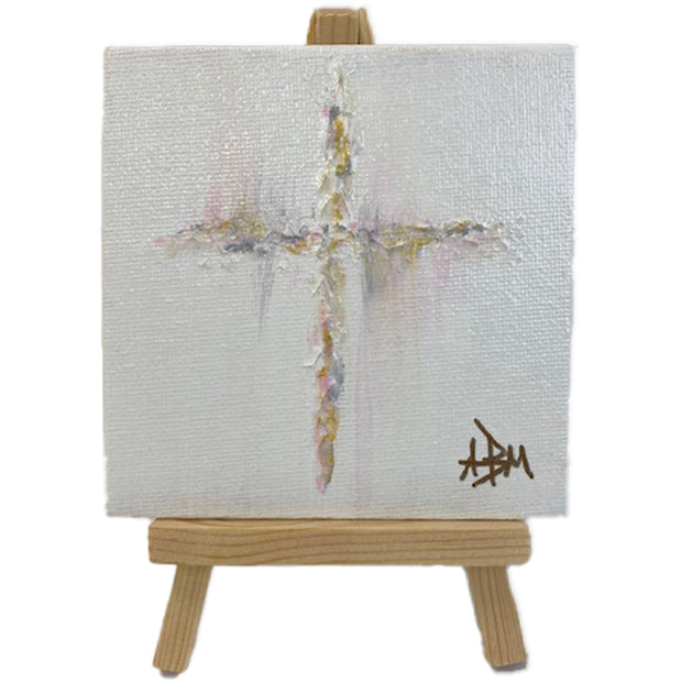 "Copy of Bless This Dorm Room Cross - Pink, Gold 4"" x 4"" with Easel"