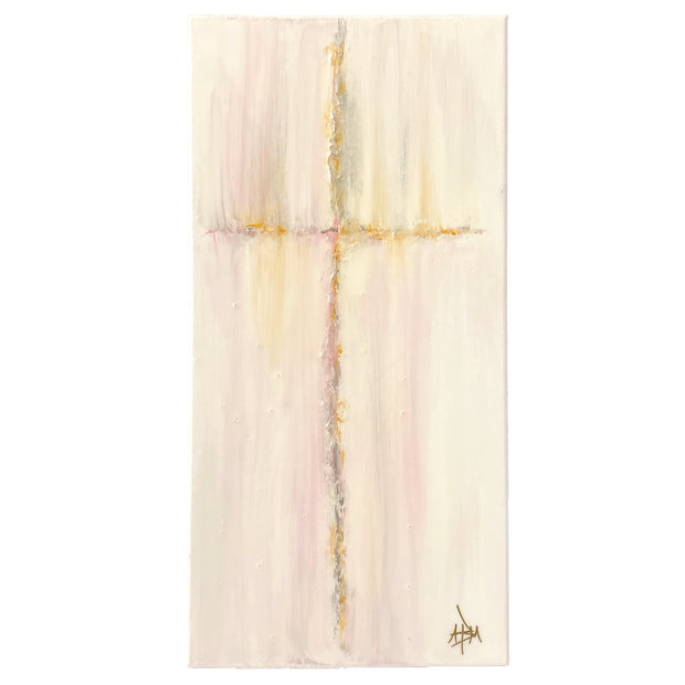"Bless This Dorm Room Cross - Pink, Gray, Gold 10"" x 20"""
