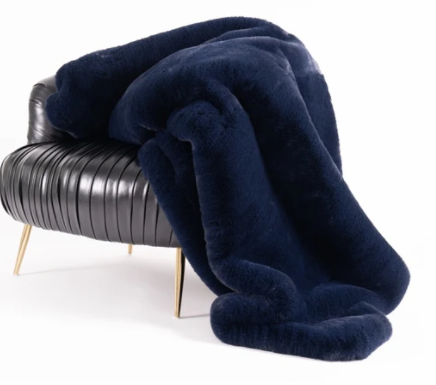 Faux Chinchilla Fur Throw - Navy