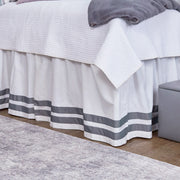Bed Skirt Panel- White with Double Dark Gray Ribbon