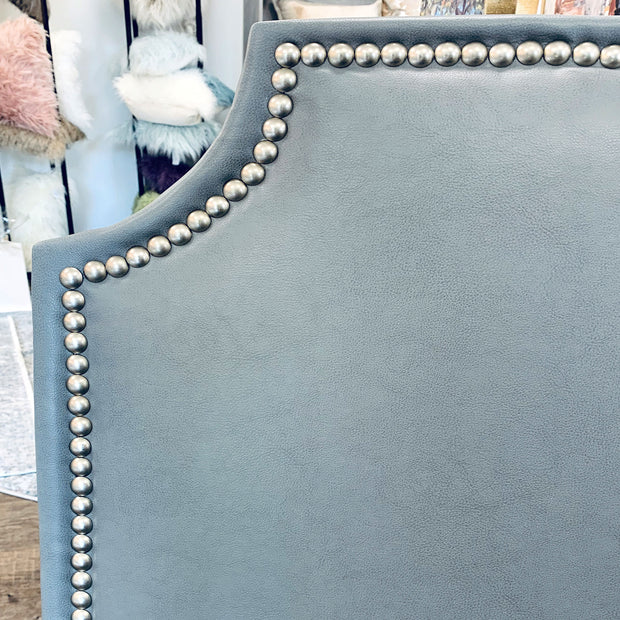 Headboard - Steel Faux Leather with Nailheads (Queen)