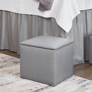 Storage Ottoman - Gray Faux Leather