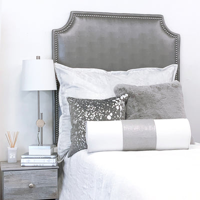 Headboard - Steel Faux Leather with Nailheads