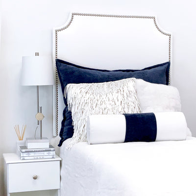 Headboard - White Faux Leather with Nailheads