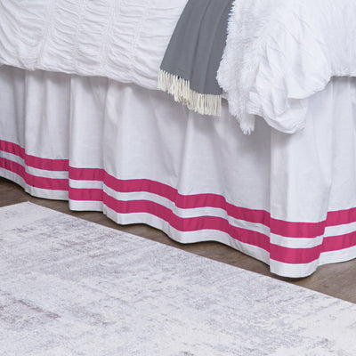 Bed Skirt Panel- White with Hot Pink Double Ribbon