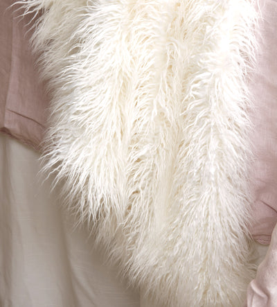 Mongolian Fur Throw - Ivory