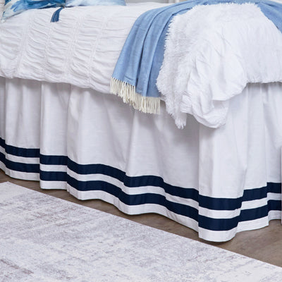 Bed Skirt Panel- White with Double Navy Ribbon