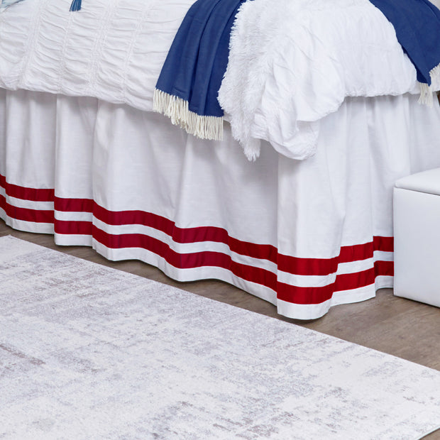 Bed Skirt Panel -  White with Double Red Ribbon