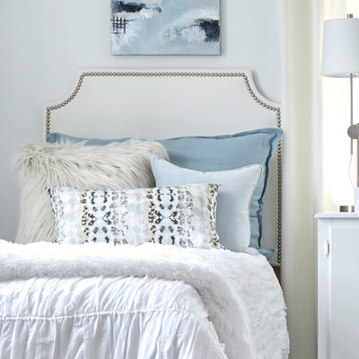Headboard- White Faux Leather with Nailheads Backordered