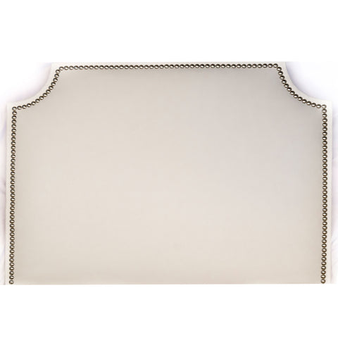 Headboard - White Faux Leather with Nailheads (Queen)