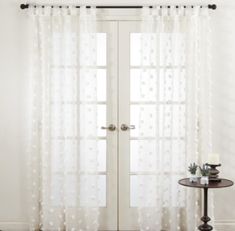 Sheer PomPom Drapery Panels (Single) - White