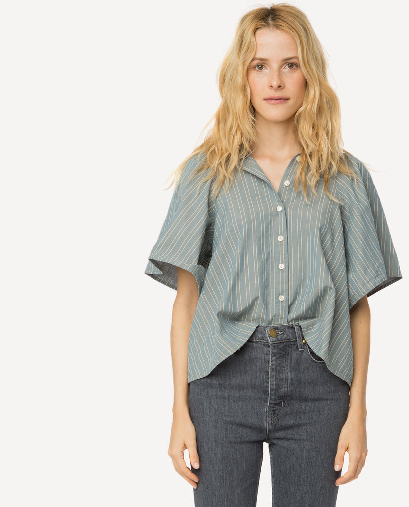 The Butterfly Button Up. -- Chambray Stripe