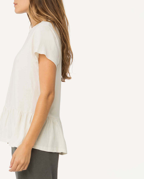 The Ruffle Tee. -- Washed White