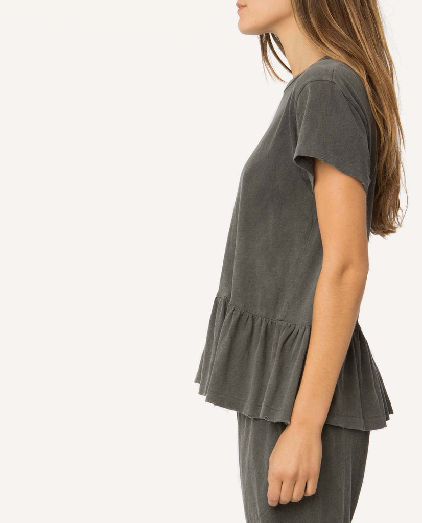 The Ruffle Tee. -- Washed Black