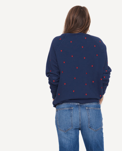 The College Sweatshirt with Embroidered Hearts - The Great. by Emily + Meritt