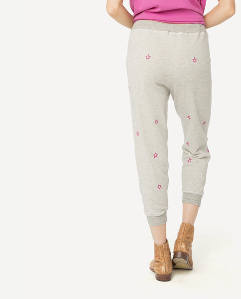 The Cropped Sweatpant. -- Heather Grey With Thistle Embroidered Stars