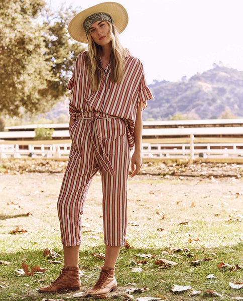 The Convertible Trouser. -- Pink Taffy Stripe