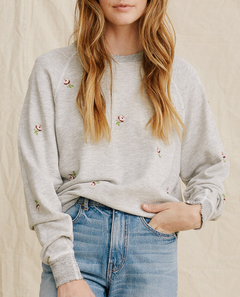 The College Sweatshirt. Embroidered -- Heather Grey With Rosette Embroidery
