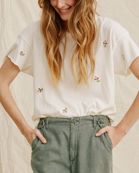 The Crop Tee. -- Washed White With Rosette Embroidery