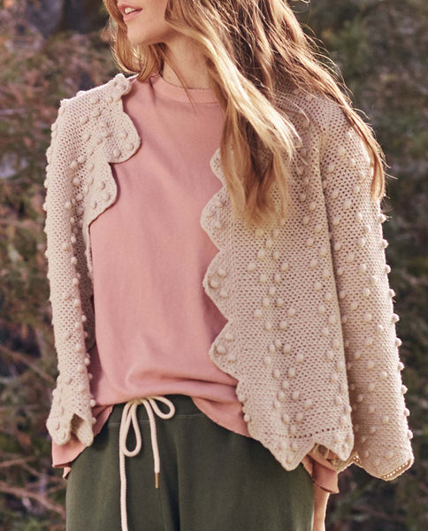 The Zig Zag Bobble Cardigan. -- Vintage Cream