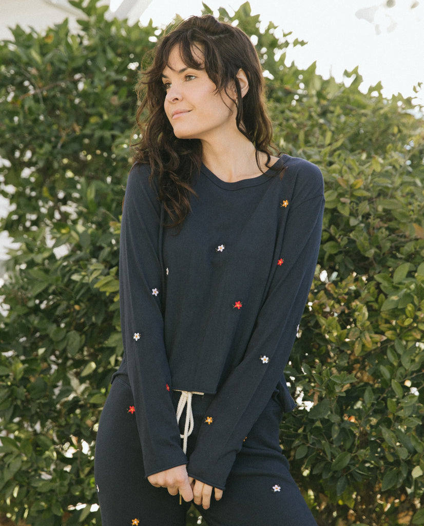 The Long Sleeve Crop Tee. -- Navy with Seed Floral Embroidery