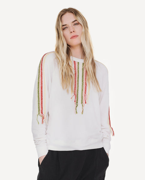 The College Sweatshirt. Embroidered -- Washed White With Multi Color Embroidery