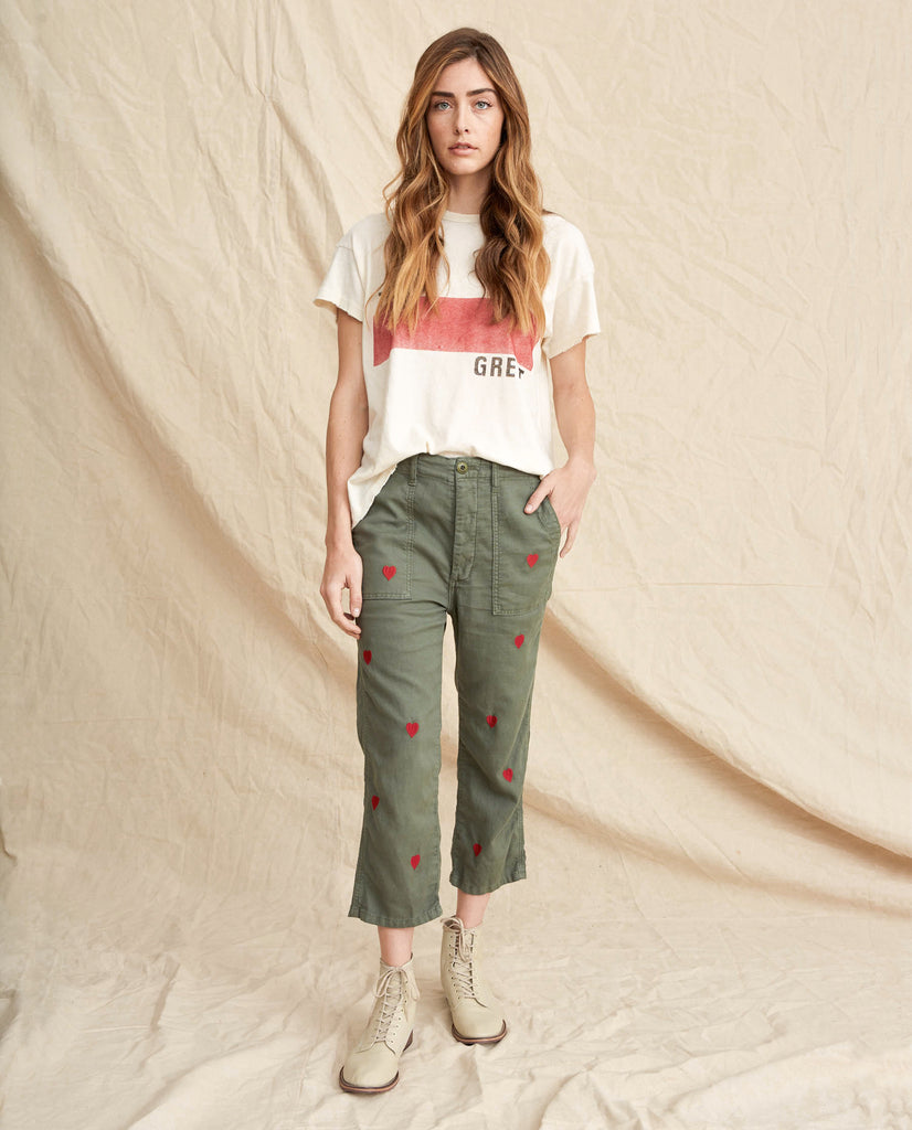 The Straight Leg Army Pant. -- Moss Army With Red Hearts