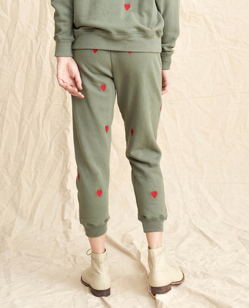 The Cropped Sweatpant. -- Moss Army With Hearts