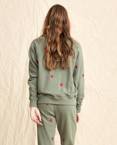 The College Sweatshirt. Embroidered -- Moss Army With Hearts