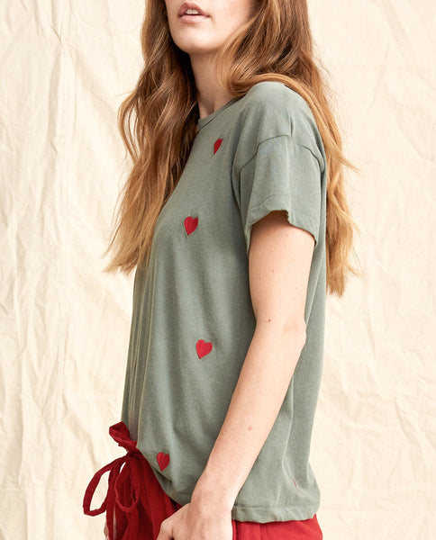 The Boxy Crew. Embroidered -- Moss Army With Red Hearts
