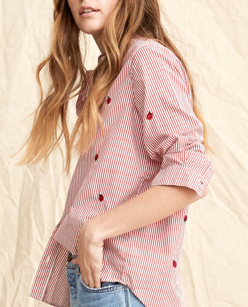 The Campus Shirt. -- Poppy Stripe With Apple Embroidery