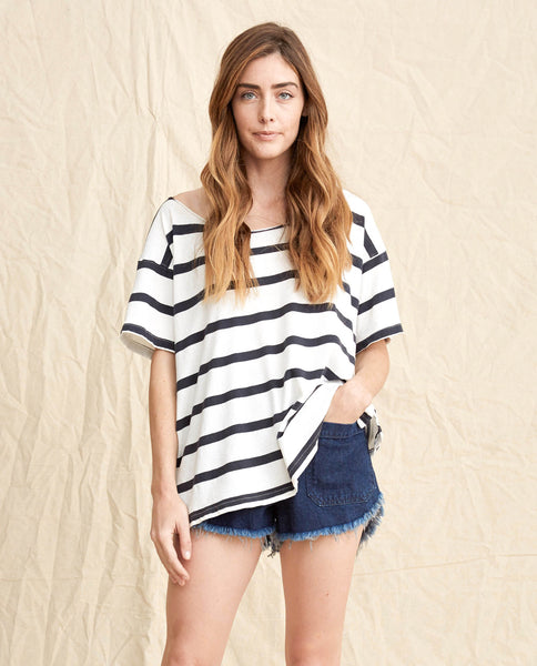 The Cut Neck Tee. -- Bleach Stripe