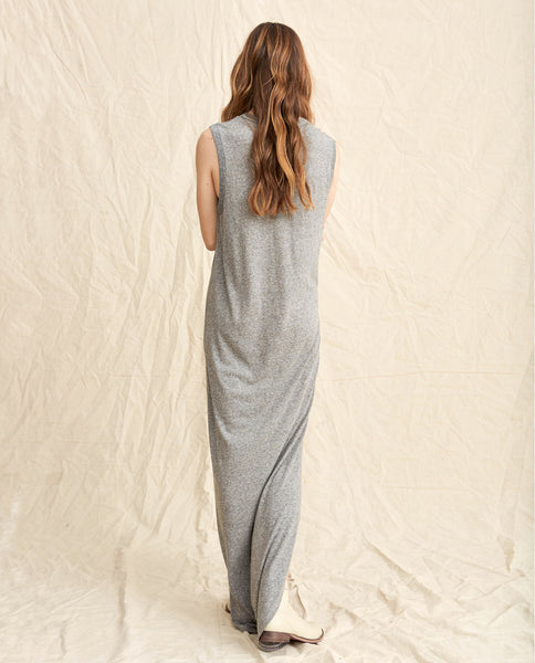 The Sleeveless Knotted Tee Dress. -- Heather Grey