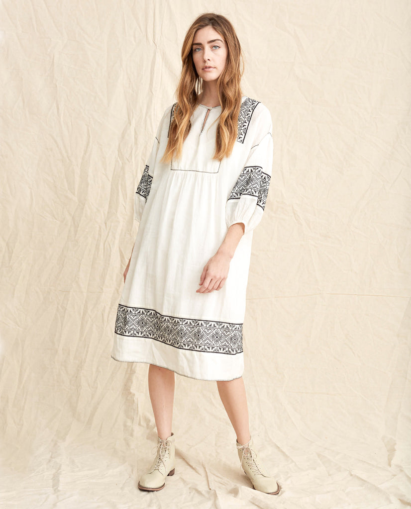 The Lovely Tunic Dress. -- Off White With Black Embroidery