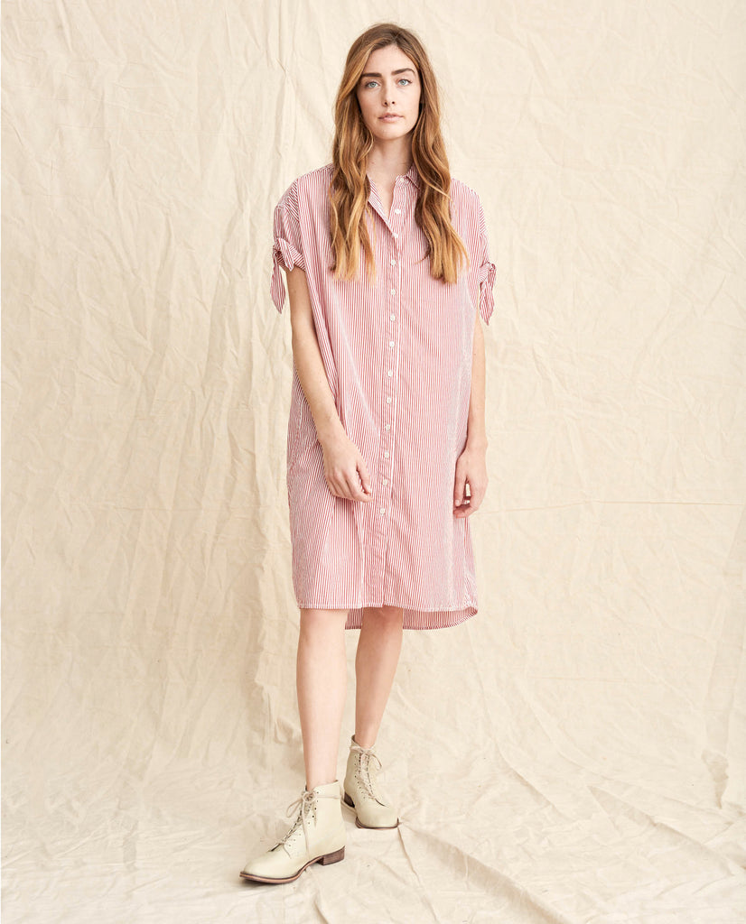 The Tie Sleeve Camper Shirt Dress The Great By Emily Meritt