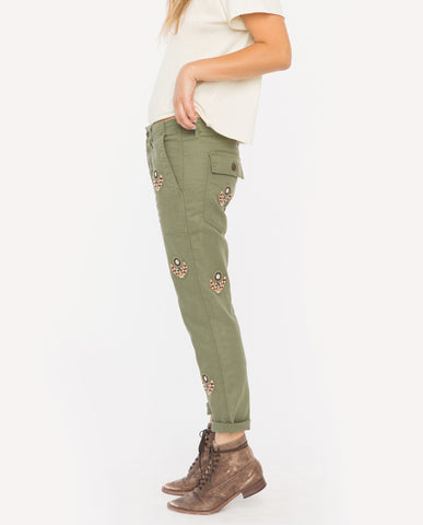 The Slouch Army. Pants - Willow Green with Flower Embroidery - THE GREAT. by Emily & Meritt