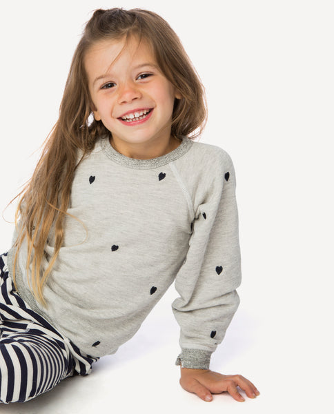 The Little College Sweatshirt. -- Heather Grey with Navy Heart Embroidery
