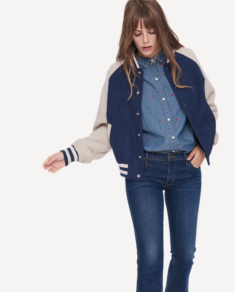 The Letterman Jacket.-Navy And Cream- Emily + Meritt ...