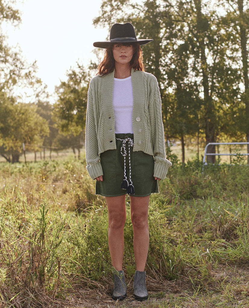 The Cable Montana Cardigan. -- SEA GREEN