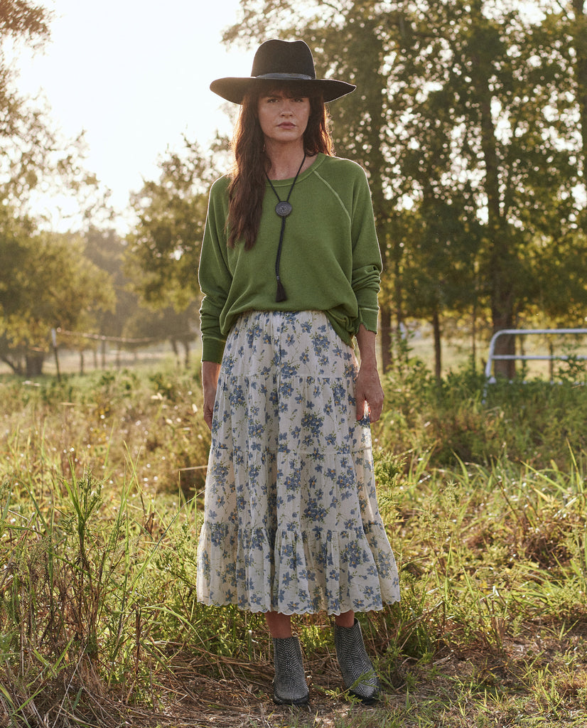 The Button Up Tier Skirt. -- BLUE BONNET FLORAL